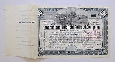 xRare ISSUED Tonopah & Goldfield Railroad Co. Stock Certificate (Nevada) 0133