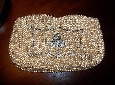 1950's- 60's Vintage White Beaded Purse