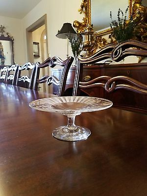 Etched Glass Compote Ribbon / Stripe Pattern