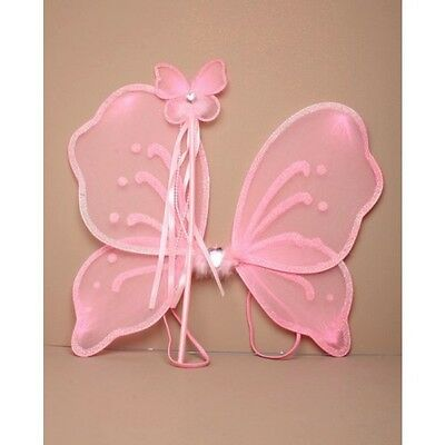 NEW Pink net heart fairy wings and wand set childrens party fancy dress 42x32cm