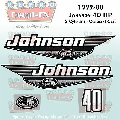 1997-98 Johnson 70 HP Outboard Reproduction 4 Pc Marine Vinyl Decals 3 Cylinder