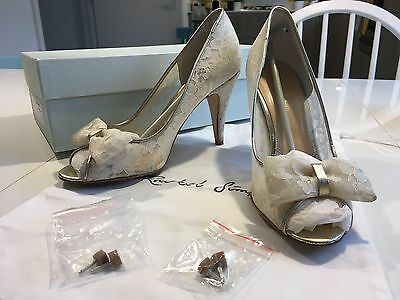 Rachel Simpson Jessica Ivory Lace Wedding Bridal Heels Shoes Boxed Size 6 Eu 39
