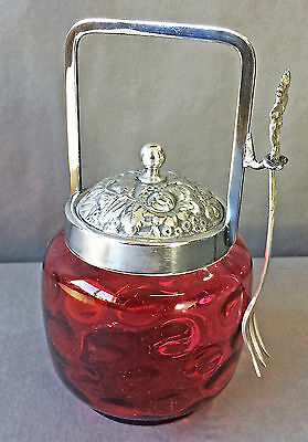 Antique Victorian Silverplate Pickle Castor Cranberry Glass Thumbprint Repousse