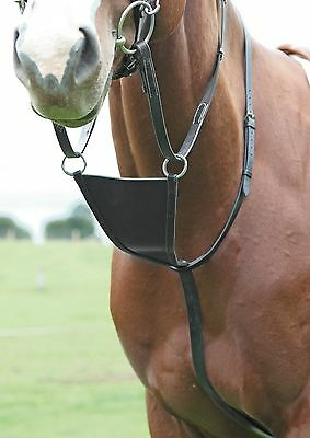 Shires Blenheim Leather Bib Martingale - Cob, Full - Black, Havana. Race /racing