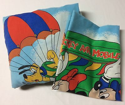 Vtg Mickey Mouse Air Mobile Disney Friends Double Fitted Sheet Pillowcase Fabric