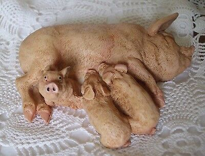 Castagna Pig with piglets figurine, made in Italy 1988