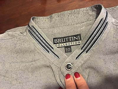 Bruttini Collection mens long sleeve Grey shirt XL 17-17 1/2 black embroidered