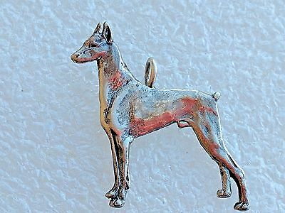 Vintage  Sterling Silver Doberman Dog Charm Pendant Bracelet Necklace