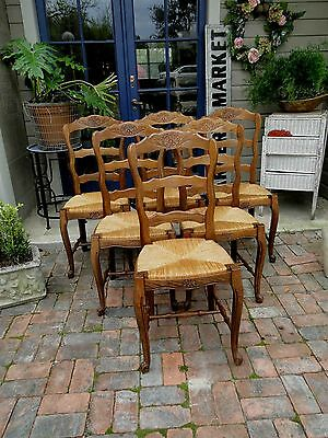 Antique French Dining Chairs Tall Ladder Back Rush Seats Carved stretcher Shell