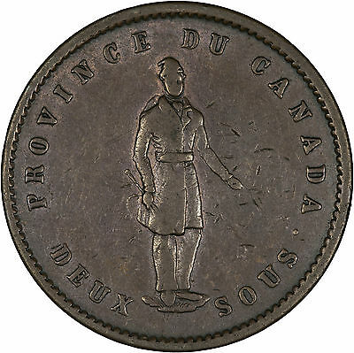 Canada (Lower Canada, Quebec) 1852 Penny (2 Sous) Token VF+, LARGE COPPER COIN