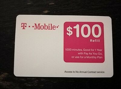 T-MOBILE TMobile $100 PREPAID REFILL CARD, New Unscratched, Fast delivery