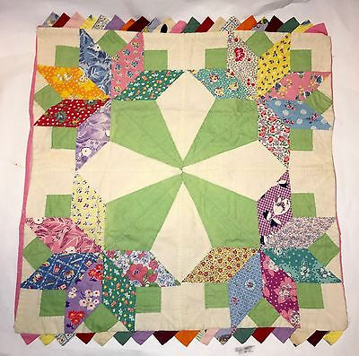 Vintage Hand Stitched Small Quilt - 1930's or 40's - Free Shipping