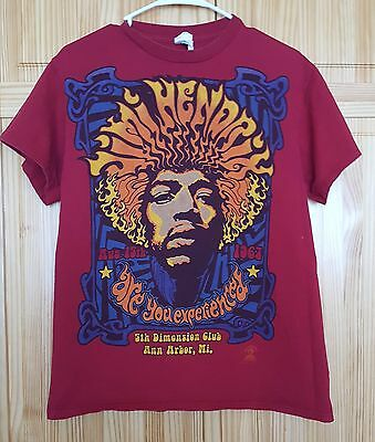 Jimi Hendrix Shirt Red Retro Are You Expienced 5th Dimension Club Adult Size M