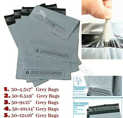 250 Assorted Grey Mailing Bags of 5 Mixed Sizes Packaging Plastic Postal Packing