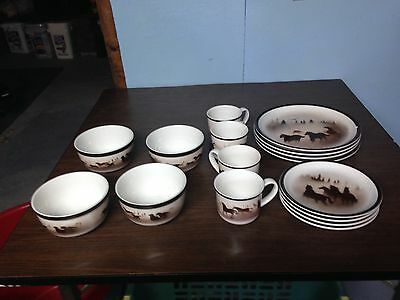 Antique horse dish set