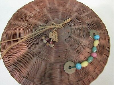 Vintage Chinese Sewing Basket With Coins, Glass Beads