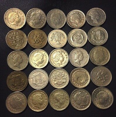 Great Britain Coin Lot - 25 British Pounds - Mixed Types - Lot #M18 - FREE SHIP