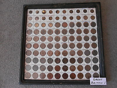 World Coin Lot:  100 Different Foreign Copper Coins from Great Britain   (GB #1)