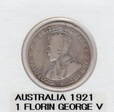 Australia 1921 George V One Florin Silver Coin