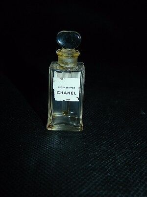 CHANEL Russia Leather Vintage Perfume Bottle with Glass Stopper