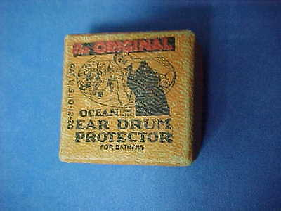 "1920 Ear Plugs ""THE ORIGINAL EAR DRUM PROTECTOR for bathers""  box w/plugs"