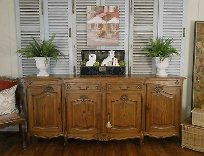 Antique French Country Louis XV Buffet Sideboard Server 4 Door Carved Carving