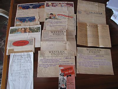 Lot of 11 Western Union Telegrams 1875 Telegraph Holidays Personal