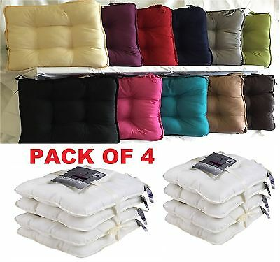 Pack Of 4 Soft Dining Chair Garden Patio Office Tie On Seat Pad Foam Cushion