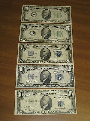 Lot of 5 - 1934 1953 $10 silver certificates and federal reserve notes