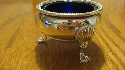 Fisher Footed Sterling Silver Cobalt Glass Salt Cellar