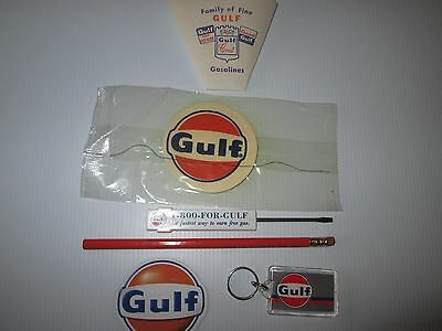 Lot Of Gulf Oil Smalls With Sign, Screwdriver, Key Ring, Magnet, Pencil