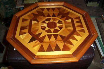 "Nice Large Antique Wood Inlay Tray Inlaid Geometric Marquetry 17"" Diameter"