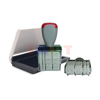 Rubber DATE STAMP Business Office School Manual Set Dater + Black Ink Pad