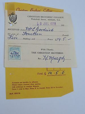 1958 Christian Brothers College Receipt CBC