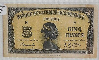 French West Africa 5 Francs 1942 Banknote