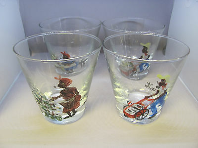 Vintage Set 1960's Black Americana Hand Painted Glasses Signed By H Foster