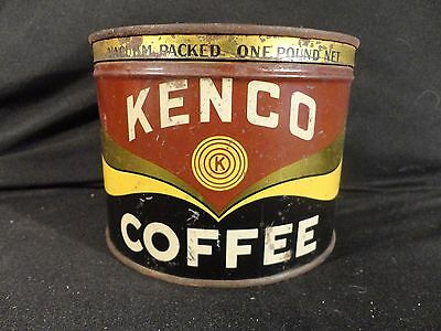 Vintage 1 Lb. Key Wind Kenco Coffee Can Tin Correct Lid Cd Kenny Co. Baltimore
