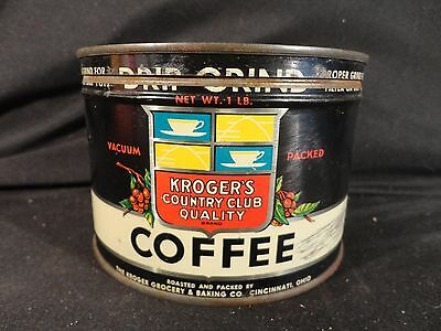 Vintage 1 Lb. Key Wind Kroger's Country Club Coffee Can Tin  Correct Lid