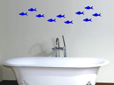 Fish school vinyl wall art stickers design accents bathroom nursery deco 10 pack