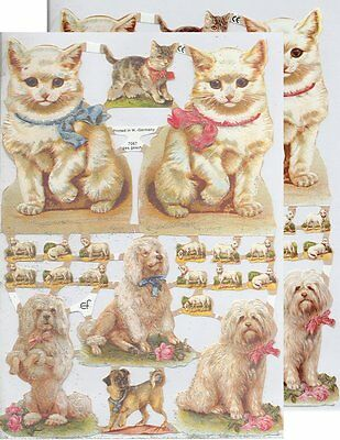 Chromo EF Découpis Chat Chien 7067 Embossed Illustrations Cat & Dog