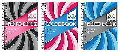 6 x A5 Twin Wire Notebook 200 pages Stationery Note Pad Book Cover
