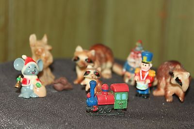 Lot of 3 Raccoon Figurines,Drummer- Train Engine-Mouse- Dog-Chicken Miniatures