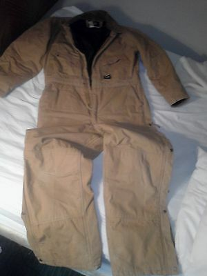 WALLS INSULATED COVERALL MEN'S LARGE TALL brown cotton duck brown lining zipper