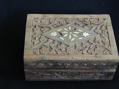 Carved Wooden Trinket Or Jewellery Box With Inlaid Flower Disign-Lined