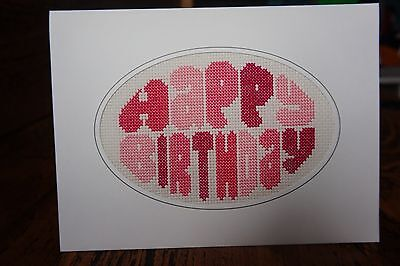 "Completed Cross Stitch Happy Birthday Card Pink 8"" X 6"""