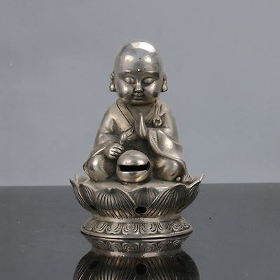 Old Chinese Tibet Silver Handwork Monk Statue W Xuande Mark gd0670