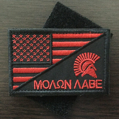 Molon Labe Spartan American Flag USA Military Tactical Morale Decal Badge Patch