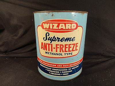 Vintage 1 Gallon Wizard Anti Freeze Can Oil Gas ---No Lid---