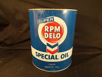 Vintage 1 Gallon Rpm Delo Motor Oil Can Oil Gas Chevron