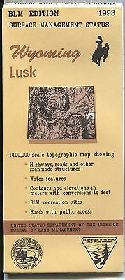 US BLM edition topographic map metric Wyoming LUSK 1993